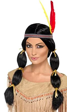 Smiffy's Indian Wig, Black, One Size