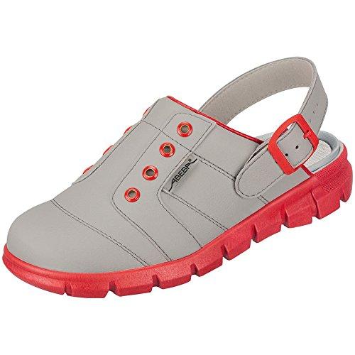 Abeba Damen Clogs & Pantoletten Grau/Red