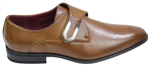 Mens Tan Brown Black Leather Shoes Italian Design Metal Buckle Slip On Smart Black xGxRo