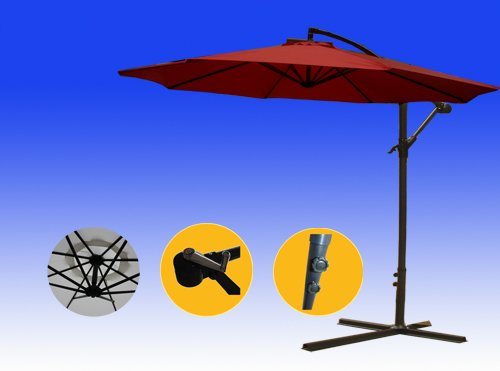 Brightent Patio Umbrella 10' Parasol Garden Beach Tilting Tent Canopy Three Different Color (Wine Red XU30R)