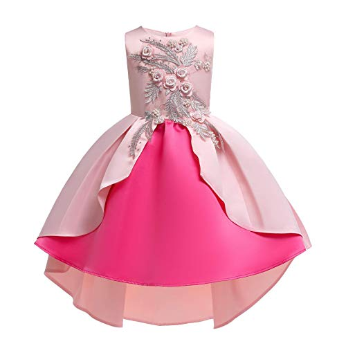 Teenages Girls Ball Gowns Flower Girl Dress Kids Children Country Party Formal Special Performance Dress Baptism Graduation Bowknot Party Dresses Size 8 9 Years (Pink Rose 150)