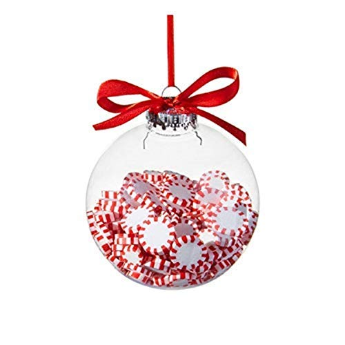 (Christmas Peppermint Candy Filled Ornament Ball, 4 Inch)