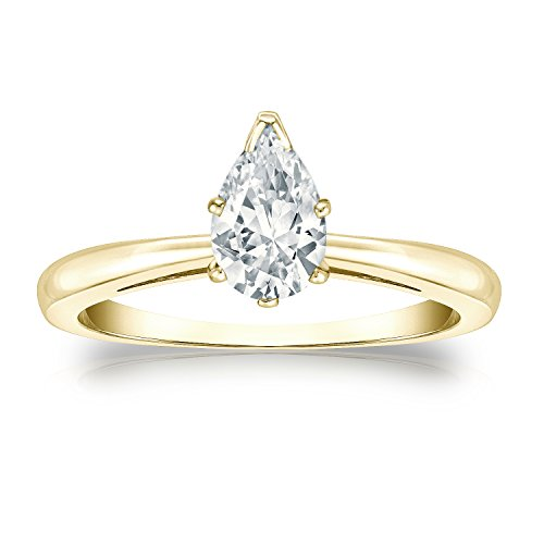 14k Yellow Gold Pear Diamond Simulated Cubic Zirconia Solitaire Ring V-Prong(3/4 ct,Excellent Quality) Size5.5