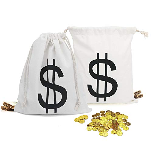 Villain Bank Robber Costume Mask and $$ Fully Loaded Money Bags. Large Drawstring Sacks with $ Dollar Sign for Cowboys, Bandits, Costumes, Party Decorations Halloween & Christmas Santa Sacks (6 Pack) -