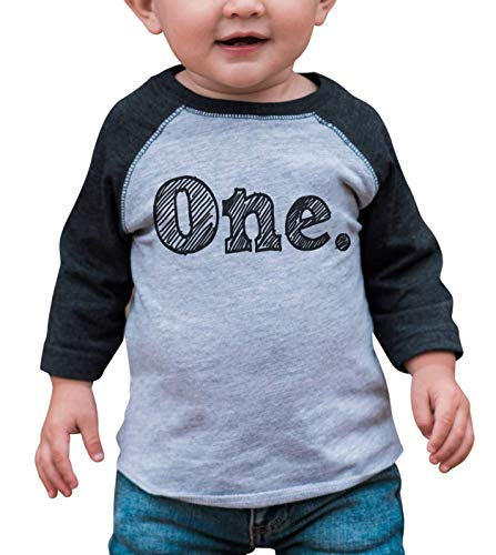 Custom Party Shop Boy's First Birthday One Vintage Baseball Tee 12 Months Grey and Black (Birthday Sleeve 3/4)