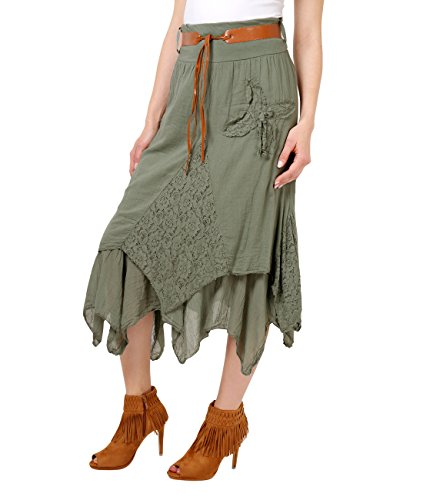 KRISP Jupe Asymtrique Femme Longue Midi Hippie Kaki (7844)