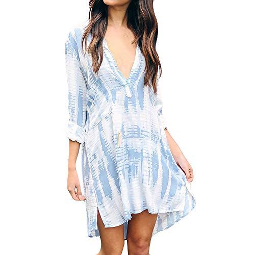 DONTAL Womens Long Sleeve V-Neck Fashion Ladies Casual Evening Paty Chiffon Dress Blue