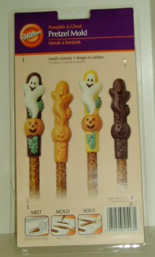 Wilton Candy Mold: Halloween Pumpkin & Ghost Pretzel Mould 2115-1498 ~ 6 Cavity (Ghost Pretzels Halloween)