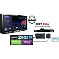 Pioneer In Dash Double Din AVH-X490BS 7 DVD Receiver with Built in Bluetooth License Plate Style Backup Camera, SiriusXM SXV300v1 Satellite Radio Tuner, Antenna and a FREE SOTS Air Freshener Included