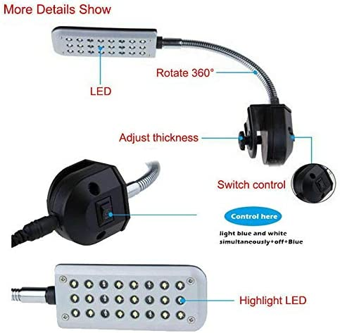 3W lintaiHousewares Fish Tank Clip on Light Aquarium Clip Lamp with Blue and White Lighting for Fish Tank