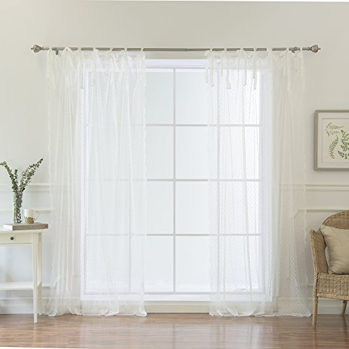 """41daTkCQliL - Best Home Fashion Swiss Dot Lace Curtains - Tie Top - White - 52""""W x 84""""L - (Set of 2 Panels)"""