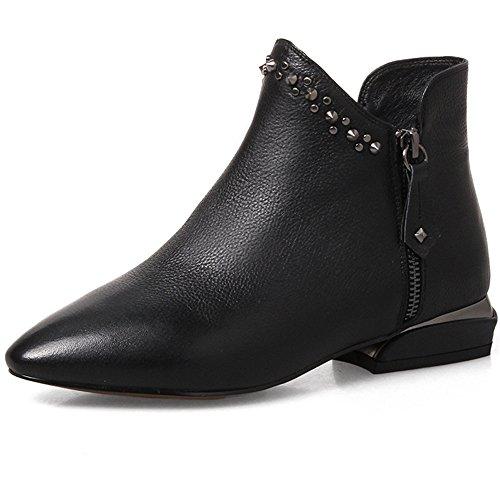 Ni Sju Ekte Skinn Kvinners Spiss Tå Chunky Hæl Zip Håndlaget Sexy Klinke  Ankel Boots Svart