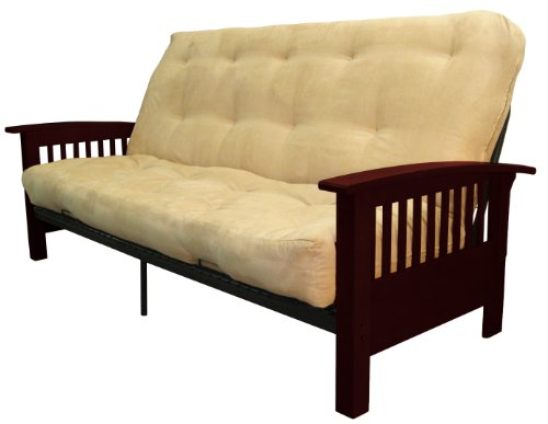 Brentwood Mission-Style True 8-inch Loft Cotton/Foam Futon Sofa Sleeper Bed, Queen-size, Mahogany Arm Finish, Microfiber Suede Khaki Upholstery