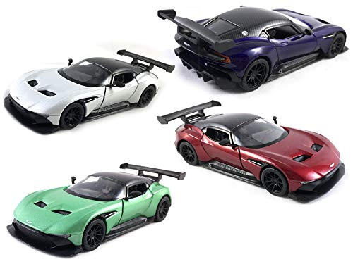(HCK Set of 4 Aston Martin Vulcan - Pull Back Toy Cars 1:36 Scale (White, Green, Red, Purple))