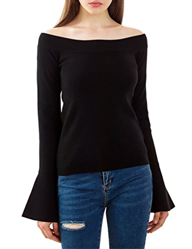 Black Sweater M long sleeve Tunic Sweater off the shoulder sweater,Black,Medium