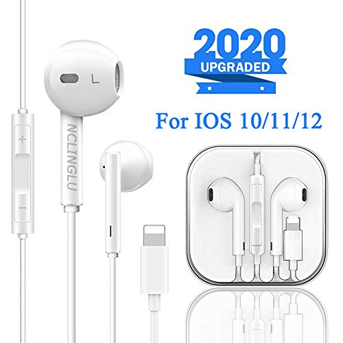 NCLINGLU Earbuds Headset Wired Earphones Headphone with Microphone and Volume Control, Compatible with iPhone 11/11Pro/11Pro Max/Xs/XS Max/XR/X/8/8 Plus/7 and iOS 10/11/12 (White)