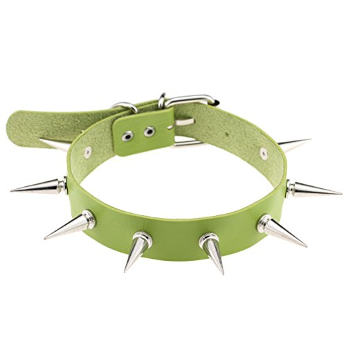FM FM42 Green Simulated Leather PU Punk Rock Gothic Spikes Rivets Choker Collar Necklace PN1417