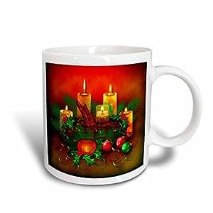 Dream Essence Designs-Holidays Christmas - Christmas Candles with Yule Log, ornaments and Holly Digital Art - 15oz Mug (mug_239858_2)