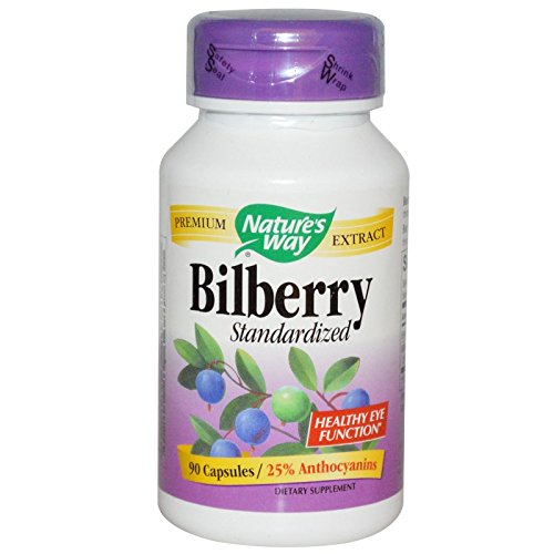 Nature's Way Bilberry Standardized Extract Veg Capsules 90 ea (Pack of 4) by Nature's Way
