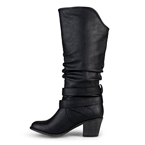Journee Collection Womens Buckle Slouch High Heel Boots Black Nsj2h