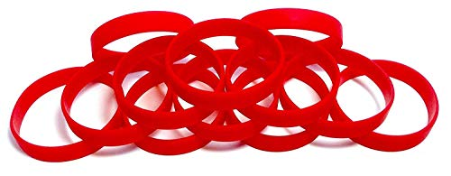 Eventitems 48 pcs Multi-Pack Silicone Wristbands - Blank Rubber Silicone Bracelets - Select from a Variety of Colors (Red, Adult - Circumference 8 inch) -