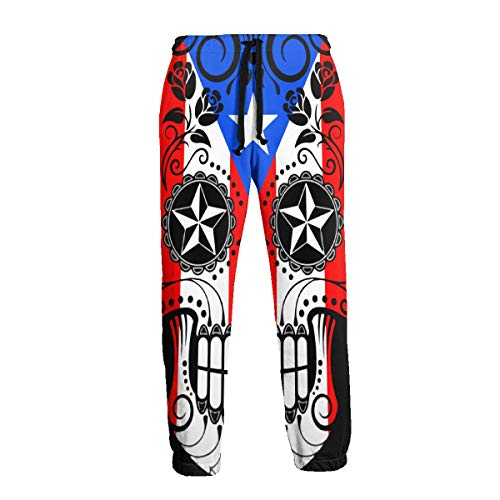 Men's Sweatpants Sugar Skull with Roses and Flag of Puerto Rico Joggers Pants with Pockets Slim Fit Sport Trousers with Drawstring