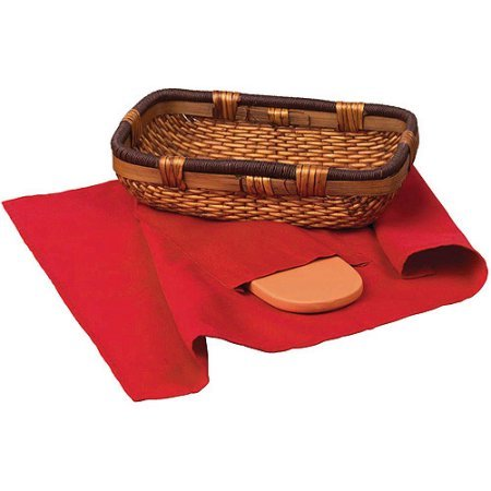 Italian Origins Bread Basket with Warming Stone Set 3-Piece (3 Stone Basket Setting)