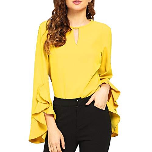 (Women's V Neck Blouse Long Bell Sleeve Zipper Back Loose Top Shirt (Yellow, S))