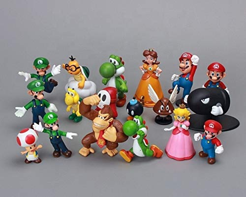 Topper Figurine - 18 Piece Mario Birthday Cake Toppers/Figurines