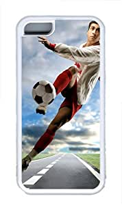 iPhone 5C Case and Cover -Shot Football TPU Silicone Rubber Case Cover for iPhone 5C ¨CWhite