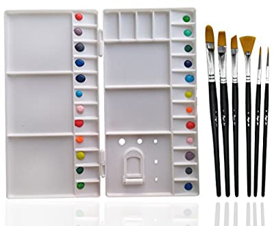 Rigger Art Professional Painting Set - Large Folding Palette Box + 6 Watercolor Paint Brush + Zippered Carry Case for Plein Air, Paintbrush for Acrylic Oil & Craft, Painter Pallet Tray With Lid Cover