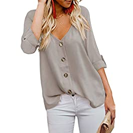 BLENCOT Women's Button Down V Neck Long Sleeve Shirts Tops Casual Loose Blouses