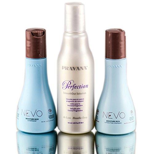 Out Trios (PRAVANA PERFECTION SMOOTH OUT 3oz Solution Trio Kit With 2oz NEVO Shampoo & Conditioner)
