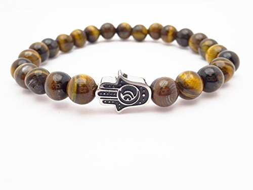 Eye of the Tiger Brown Bead Bracelet with Hamsa by Fine Jewelry 4 Me (Image #4)