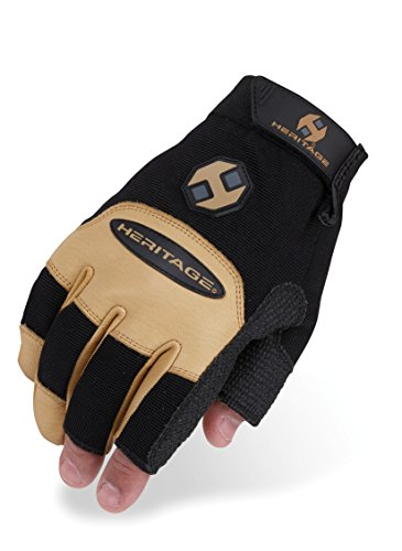Heritage Farrier Work Gloves, Size 10, Black/Tan
