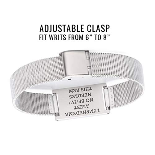 linnalove Lymphedema Alert No bp/iv/Needles This arm Stainless Steel Milanese Medical ID Alert Bracelet for Breast Cancer Adjustable by linnalove (Image #3)