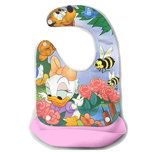 Baby Bib Baby Donald Duck and Daisy Waterproof Feeding Bibs for Babies and Toddlers with Food Catcher Pocket -
