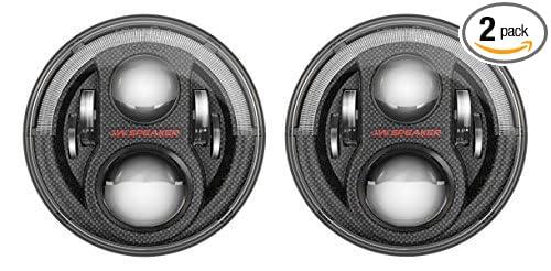 JW Speaker LED Headlights, Model 8700 Evolution J2 Series with CARBON FIBER Bezel, Set of 2