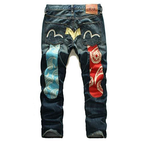 Slim Dritto Blu R Ricamo Uomo Vita Fit Larghi Jeans Da Taglio Pantaloni E A Con Vintage Alta XwZqaxY