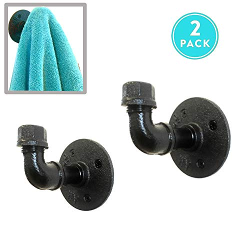 Rustic Towel Robe Hook Set | Industrial Coat Hooks Decor Home Kit | Quality Black Powder Coated Iron Pipes | Vintage Farmhouse DIY Wall Mounted | Steampunk Style | Includes All Hardware (Pipe Hook)