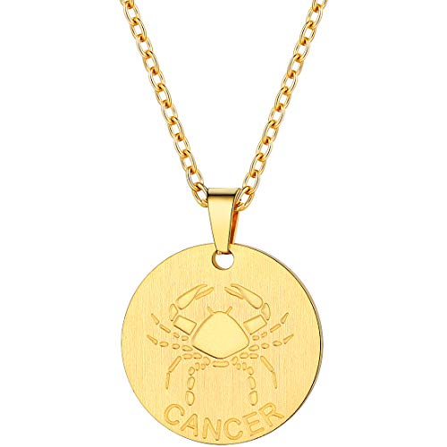 PROSTEEL Cancer Zodiac Star Sign Coin Necklace 18K Gold Constellation Horoscope Layered Layering Necklace Round Pendant Men Women Jewelry Birthday Gift