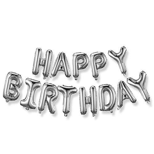 Happy Birthday Balloons, REKOBON Aluminum Foil Birthday Banner Balloon for Birthday Party Decorations (Silver)