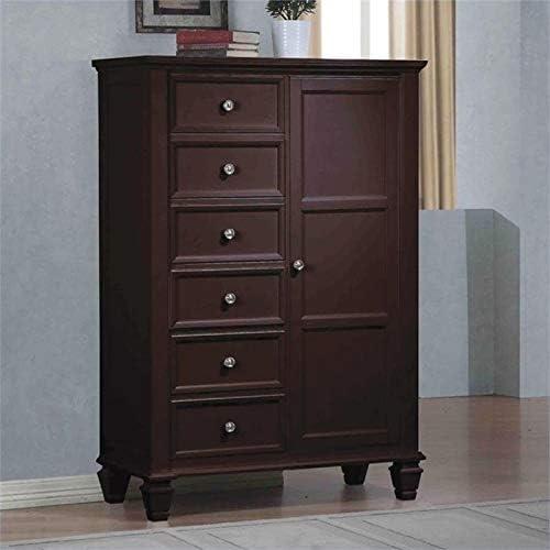Zuri Furniture Vailan 5 Drawer Mirrored Modern Chest