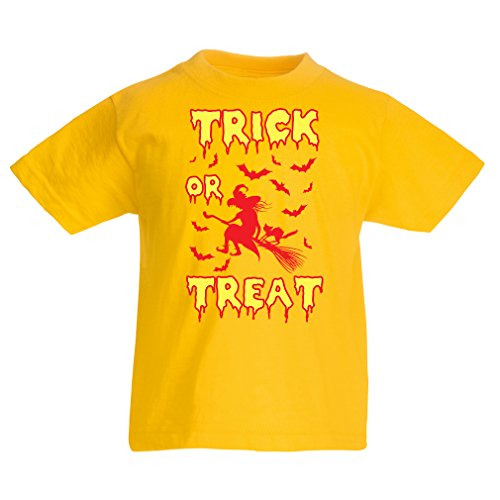 lepni.me Kids T-Shirt Trick or Treat - Halloween Witch - Party Outfits- Scary Costume (1-2 Years Yellow Multi Color) -