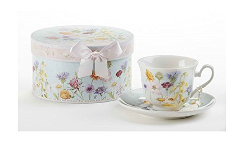 Delton Products Wildflower 3.5 inches Porcelain Cup/Saucer in Gift Box Drinkware -