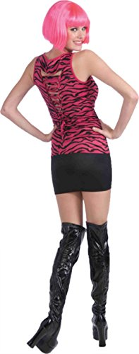 Forum Novelties Womens 80'S Rock Pink Black Zebra Shirt Halloween Themed Costume, One Size (Party Rock Zebra Costume)