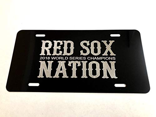 Diamond Etched Boston Red Sox Nation 2018 WSC on Black Aluminum License Plate from Diamond Etched