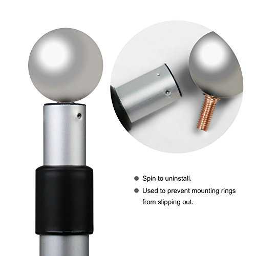 Becko 6 5ft Heavy Duty Aluminum Alloy Telescopic Adjustable Anti-Winding  Flag Pole - Silver