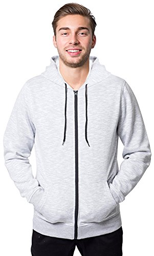 Brooklyn Athletics Men's Fleece Hoodie Full Zip Active Hooded Sweatshirt, White Streaky Slub, -