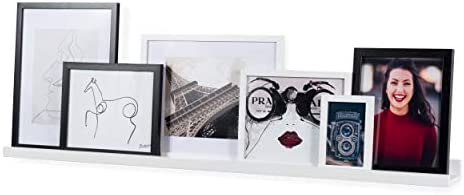 Wallniture Denver Modern Design Floating Picture Display Ledge Wall Mount Shelf 46 Inches White